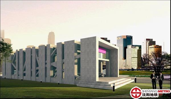 地铁车站出入口建筑设计备选方案;; 奥体中心站地铁出入口设计方案之